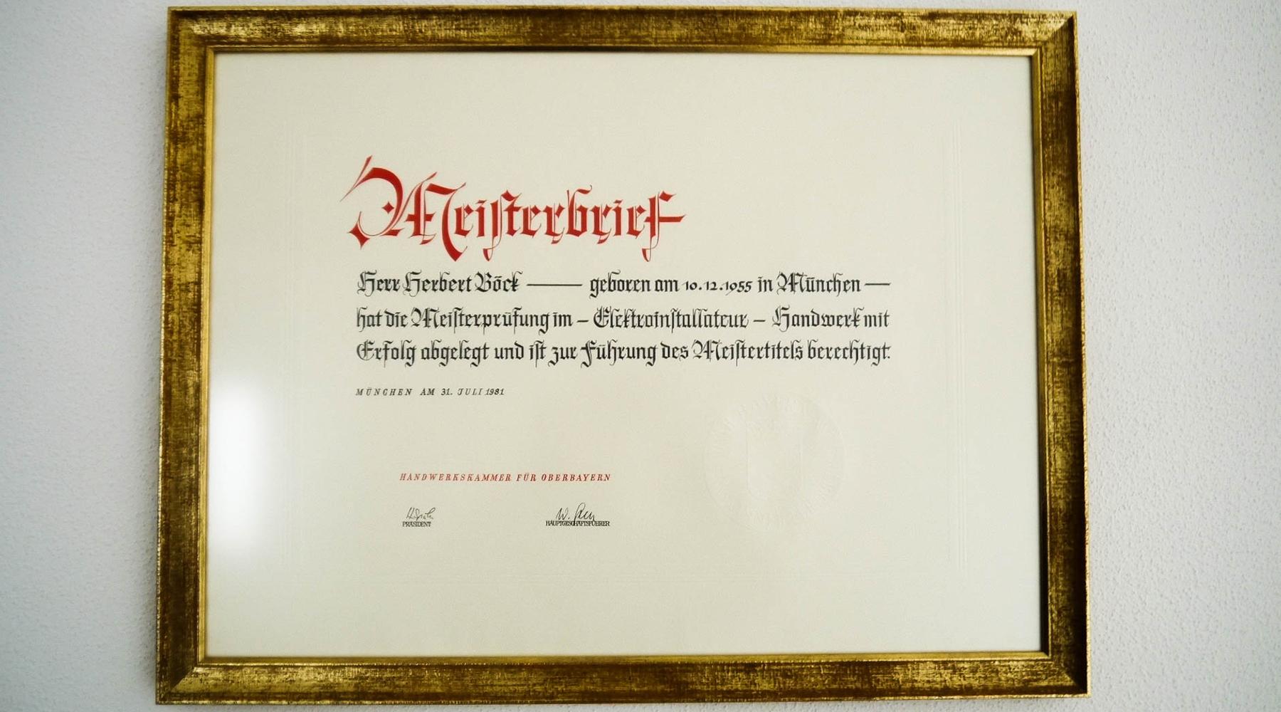 Meisterbrief Herbert Böck als Elektriker in Germering