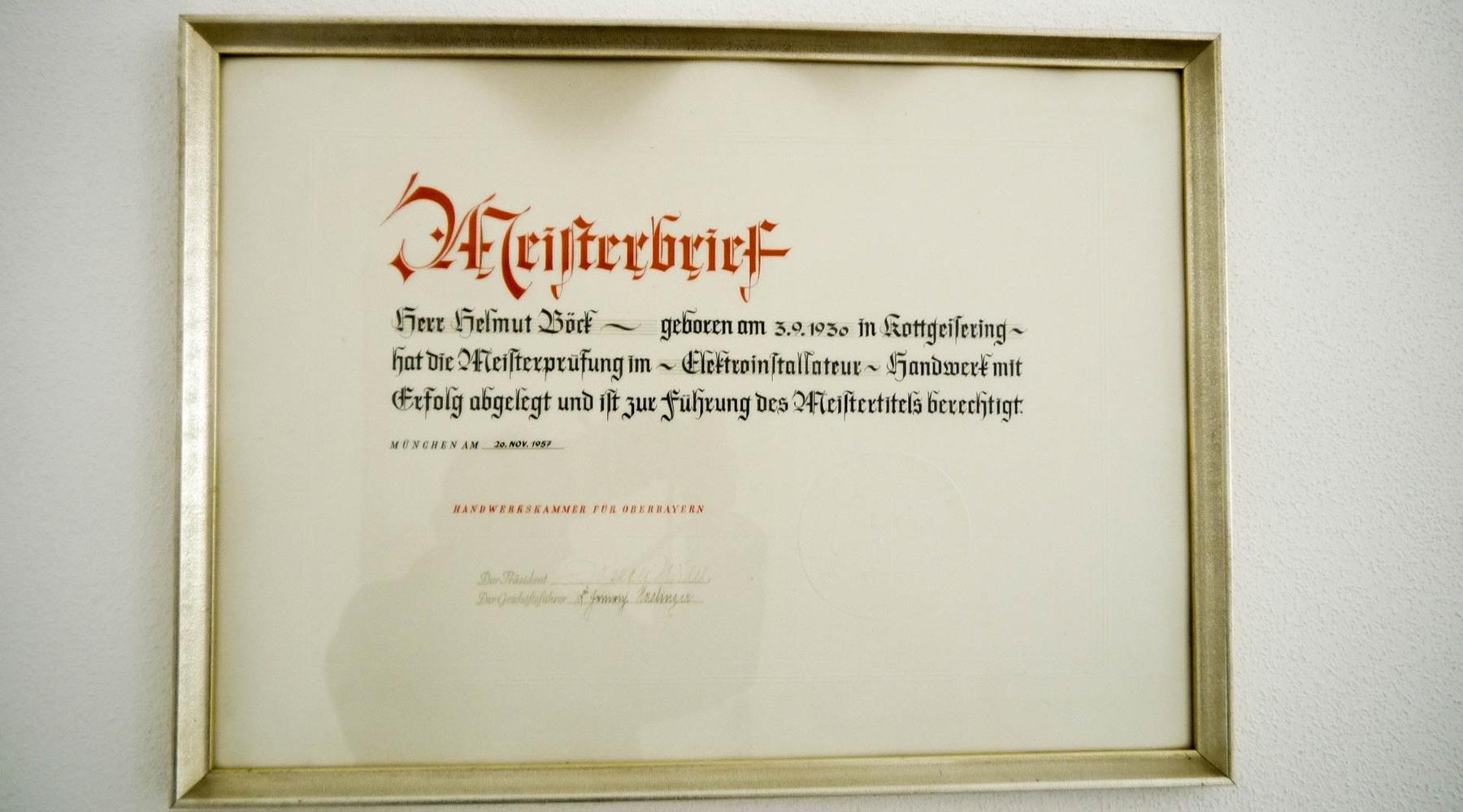 Meisterbrief als Elektriker Helmut Böck