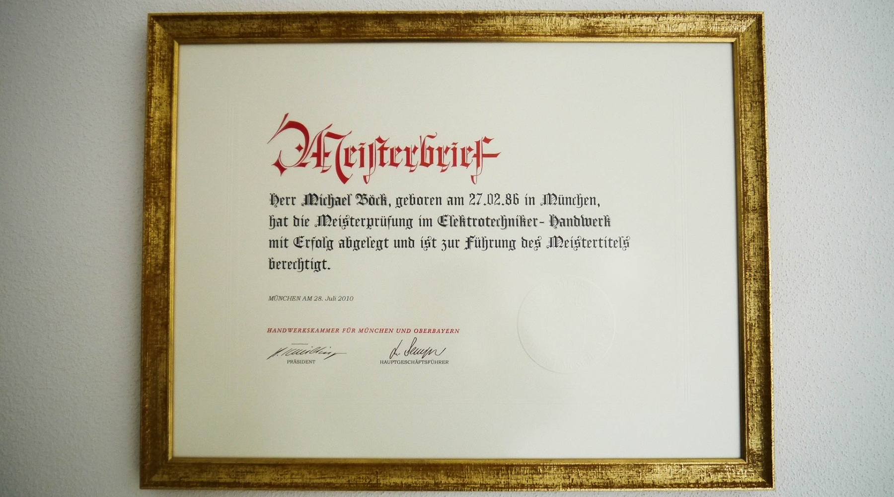 Meisterbrief Michael Böck als Elektriker in Germering